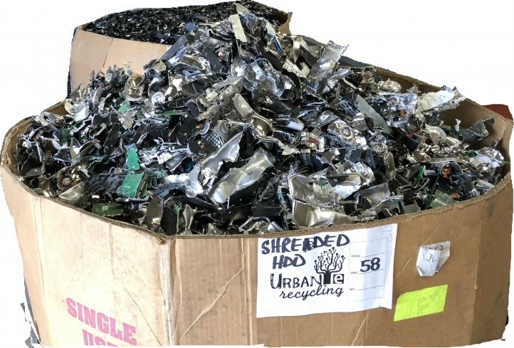 cardboard box of shredded electronics